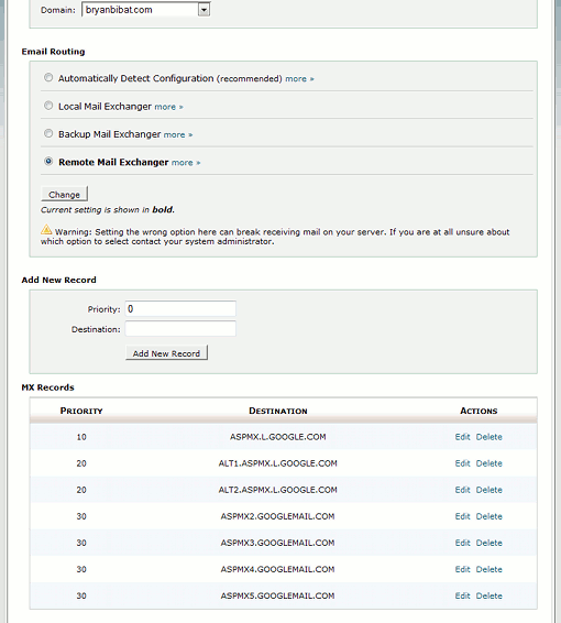 MX entries at cPanel