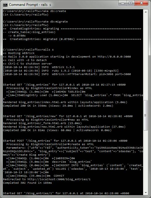 rake db + rails s